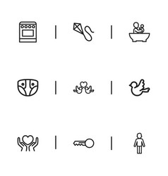 Set of 9 editable family icons includes symbols vector