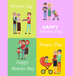 set of congratulation cards for family holidays vector image vector image