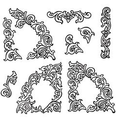 Set of Hand drawing ornamental decorative elements vector image