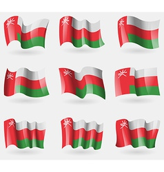 Set of oman flags in the air vector