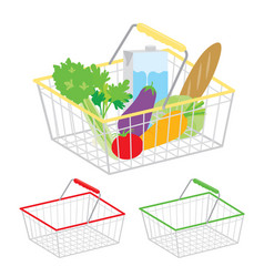 shopping basket supermarket healthy food vector image