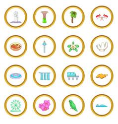 Singapore travel icons circle vector