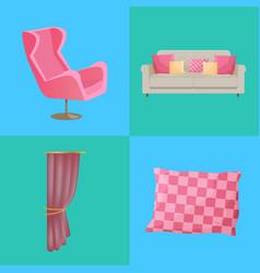 Sofa and pillows interior set vector