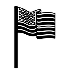 United states flag waving in pole black silhouette vector