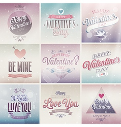 valentine emblems light vector image vector image
