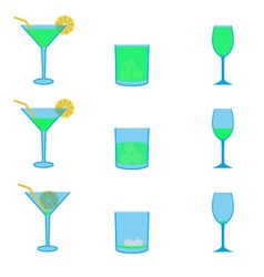 various green drinks full and empty icons set vector image vector image