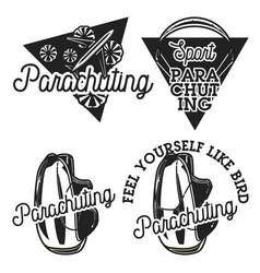 Vintage parachuting emblems vector