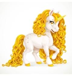White fabulous unicorn with golden mane isolated vector image vector image