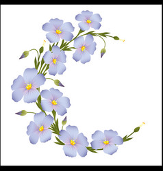 Wreath of flax flowers round ornament vector
