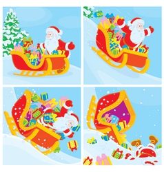 Santa in his sleigh slides down the hill vector