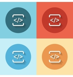 Html flat icon set vector