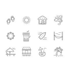 Hawaii resort flat line icons set vector