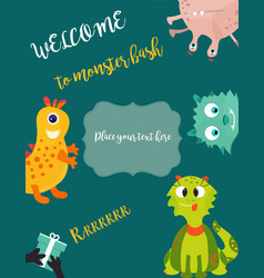 Birthday postcard or invitation with cute monsters vector