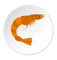 Orange shrimp icon circle vector