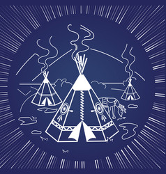 Life indigenous people silhouette vector