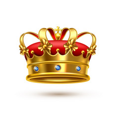 Royal crown gold velvet realistic vector