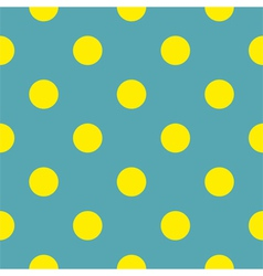Seamless background with yellow polka dots blue vector image