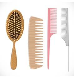Hair combs set isolated on a white background vector image