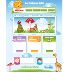 Kid theme for web template vector