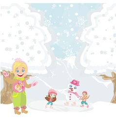 Girls and snowman playing in a winter day vector