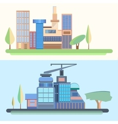 City trees houses buildings architecture city vector