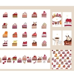 Set with different fruit cake slices different vector
