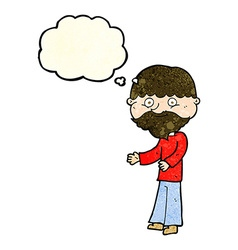 Cartoon happy bearded man with thought bubble vector
