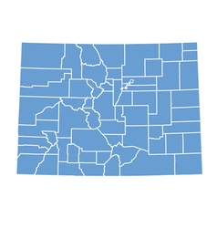 State map of colorado by counties vector