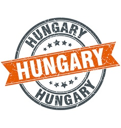 Hungary red round grunge vintage ribbon stamp vector