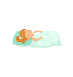 adorable redhead little girl sleeping on her bed vector image vector image