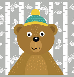 bear on background of birch trees vector image vector image