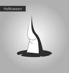 Black and white style icon of witch hat vector