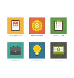 Business flat design icons vector