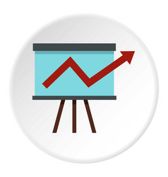 Business growing chart presentation icon circle vector