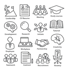 Business management icons in line style Pack 20 vector image vector image