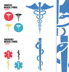 Caduceus Medical and Emergency Medical Symbols vector image vector image