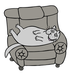 cartoon lazy grey fat cat is lying on a armchair vector image vector image
