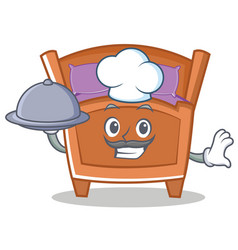 Chef cute bed character cartoon vector