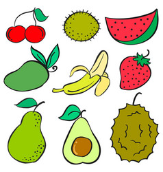 Collection stock of fruit various doodles style vector