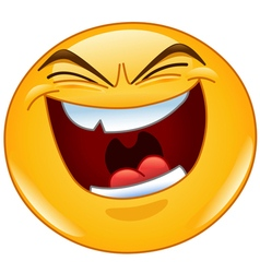 Evil laugh emoticon vector