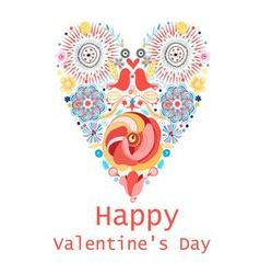Floral heart of flowers valentine s day card vector