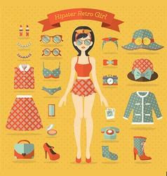 Hipster girl set vector image