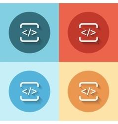 Html flat icon set vector