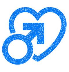 Male love grunge icon vector