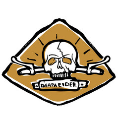 moto biker theme icon cafe racer golden white vector image vector image