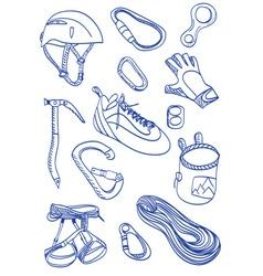 Mountain climbing - doodle style vector