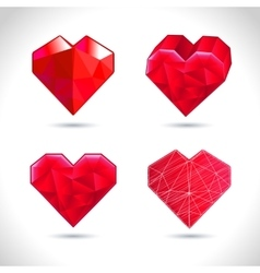 set of crystallized red hearts vector image vector image