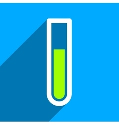 Test tube flat square icon with long shadow vector