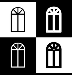 Window simple sign black and white icons vector