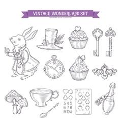 Wonderland hand drawn set of design elements vector